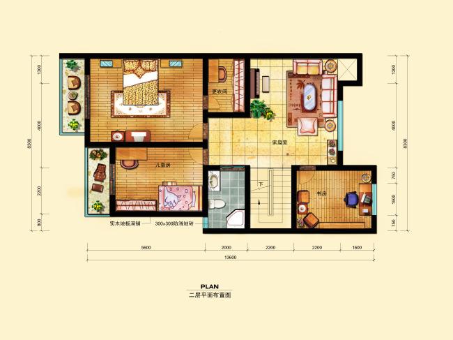 【psd】室内设计二层cad户型彩平图psd分层图片