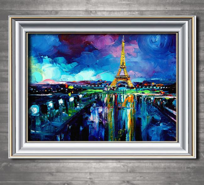 【psd】美丽的埃菲尔铁塔欧洲风景油画