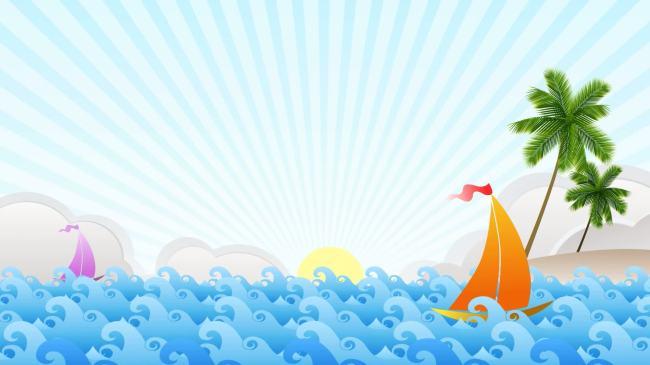 【mp4】卡通海洋帆船椰树浪花led背景素材