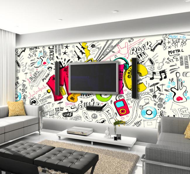 【psd】音乐涂鸦客厅电视背景墙