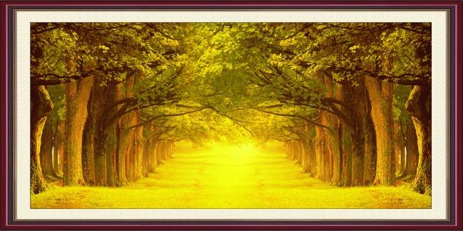 【psd】树林风景油画
