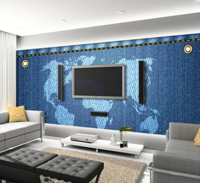【psd】牛仔布世界地图客厅电视背景墙