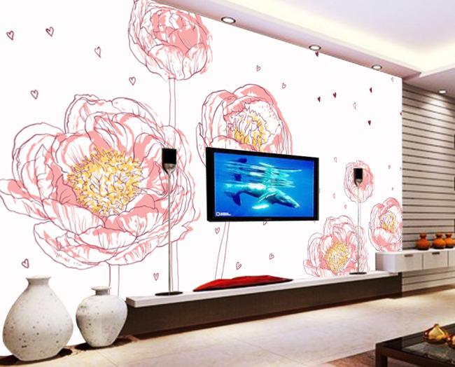 【psd】手绘风格牡丹花朵电视背景墙设计