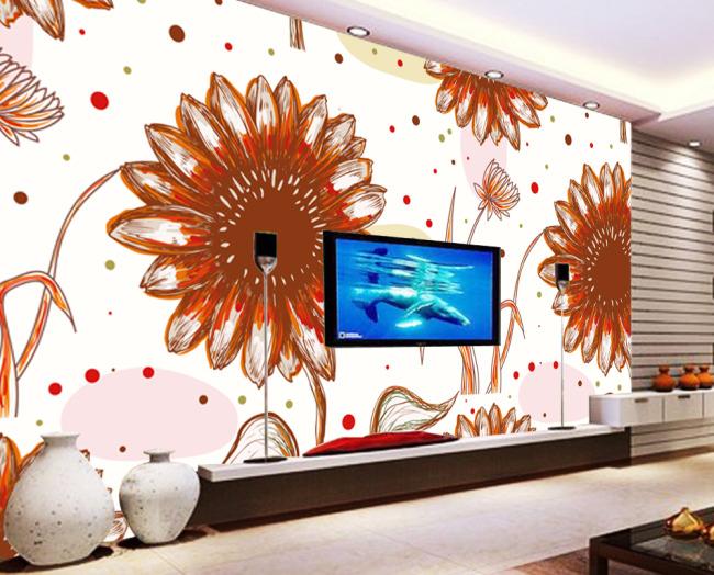 【psd】简约手绘向日葵花朵电视背景墙设计