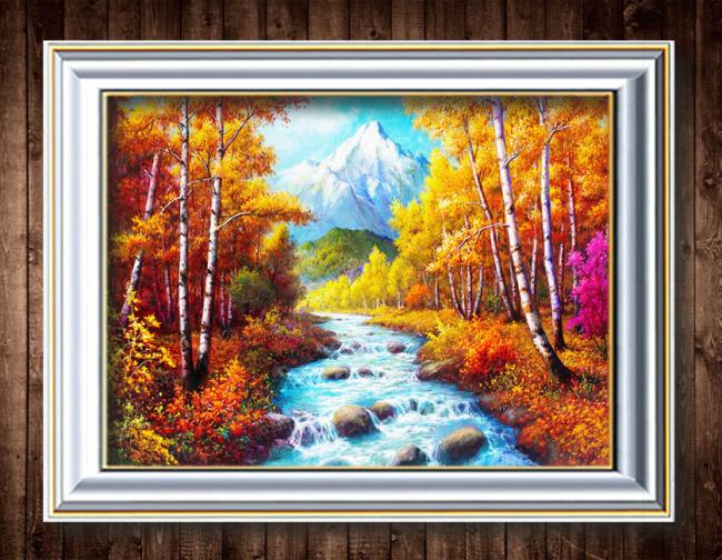 【psd】美丽秋天风景油画