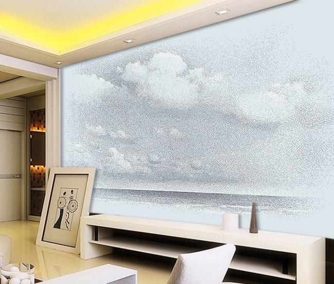 抽象素描海平面客厅电视背景墙