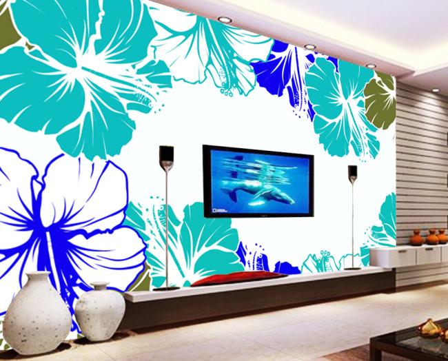 简约 手绘 风格 绿色 抽象 花朵 电视墙 背景墙 大厅 壁画 堂画 挂画