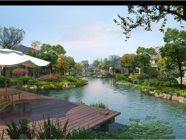 【psd】小区水系园林景观设计效果图