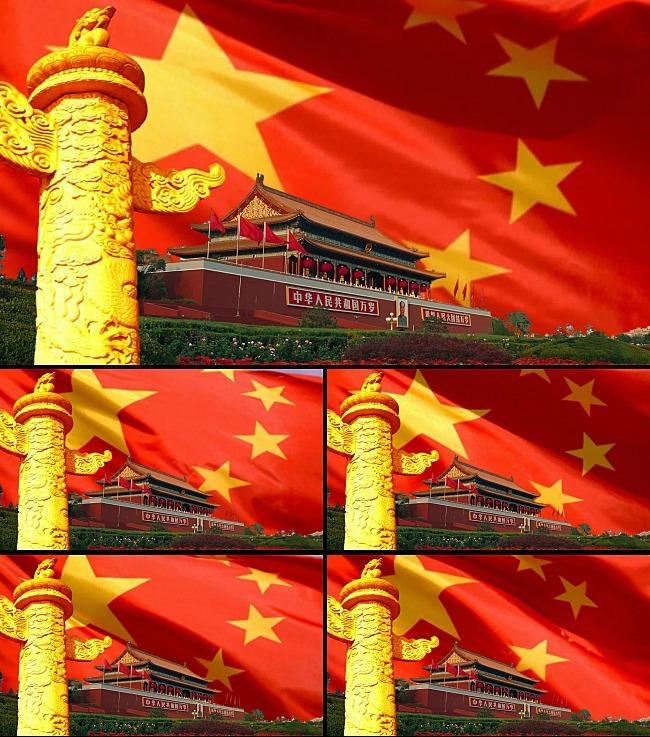 【mp4】天安门国旗飘扬华表中国梦高清视频背景素材