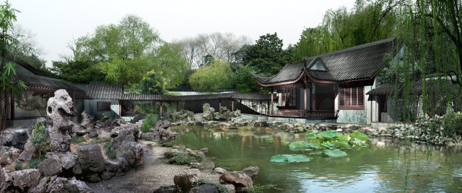 中国文化 景观设计 园艺 景观效果图 风景 湖水 园林建筑 说明:古典