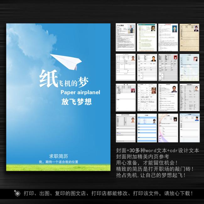 纸飞机 简历 简历封面 简历设计 简历背景 封面 模板 说明:清新创意简