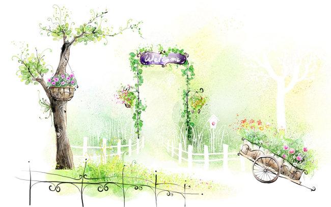 朦胧 环境 水墨画 写生 线条 线描 素描水彩 小品 作品 无框画 园林