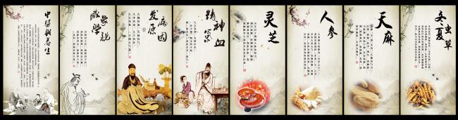 【psd】古典中医文化墙宣传展板海报