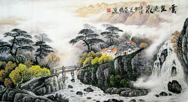 其它模板 其他模板 > 云壑流泉 山水风景 国画  关键词: 溪流 房屋