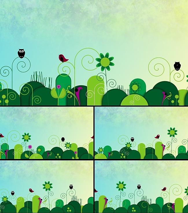 【mov】儿童动画卡通小鸟猫头鹰植物背景视频