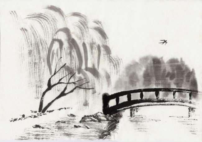手绘风景 风景插画