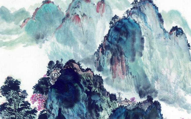 石崖 油画水彩画无框画绘画装饰画墙画壁画 风光 风景 景色 美景 山脉