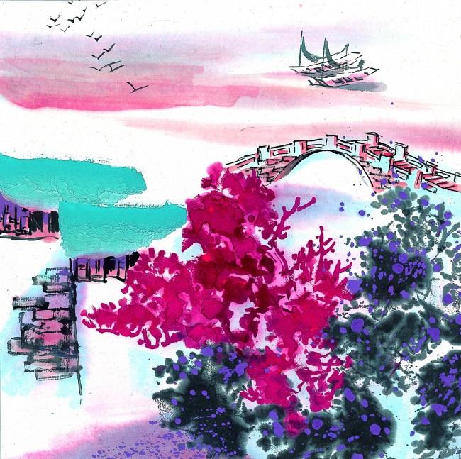 江南风景写生 小桥流水人家