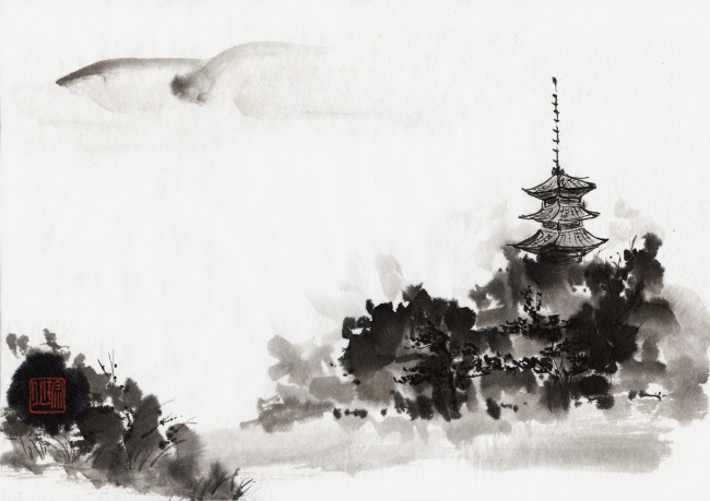 【jpg】水墨山水国画作品插图 中国风
