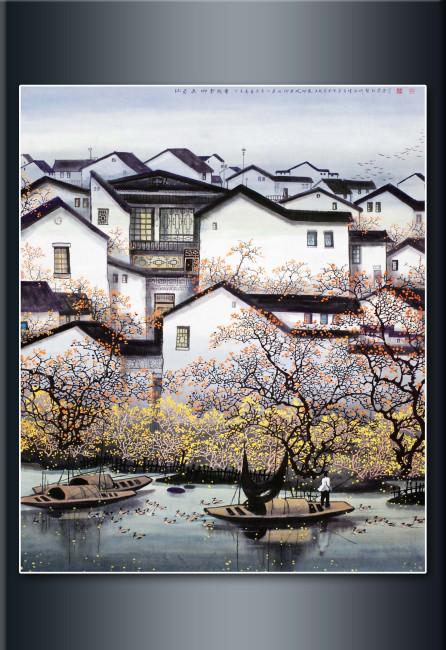 画 中国绘画 无框画 装饰画 壁画 高清图片下载 说明:江南建筑写生