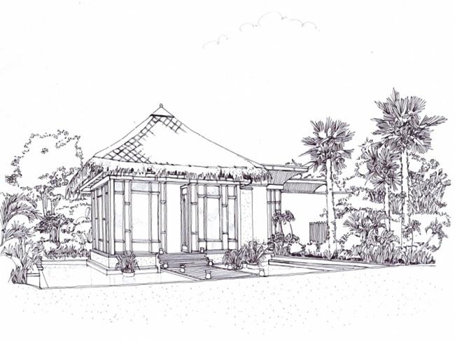 建筑室外手绘图别墅