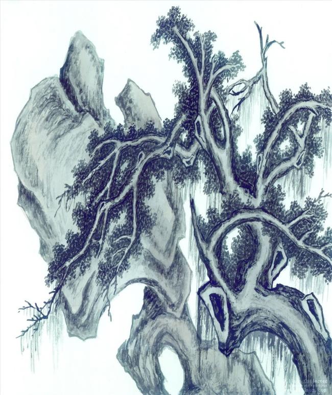 原创专区 其它模板 其他模板 > 松树国画假山水墨画  关键词: 中国风