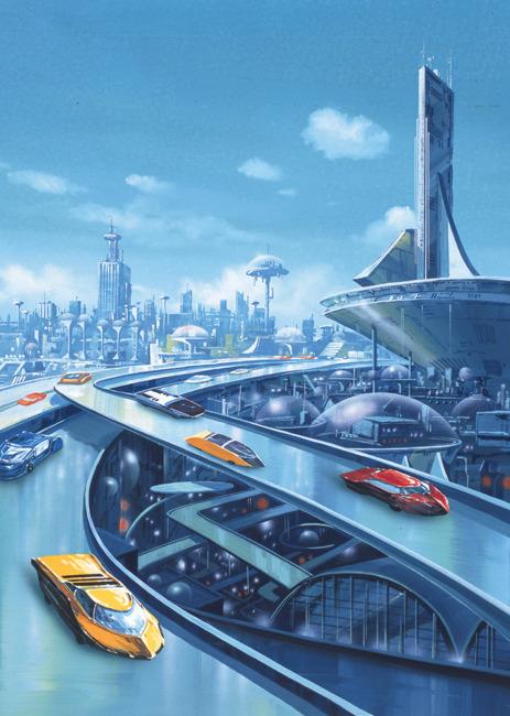风景画 绘画 手绘景观 卡通画 手绘风景 风景插画 漫画 说明:未来城市