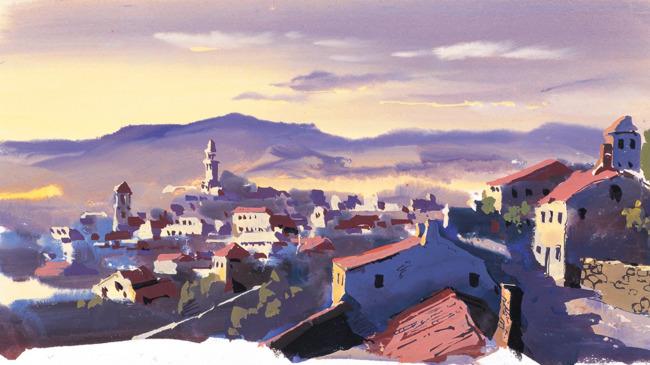 城市 建筑 城郊 村庄 小镇 插图 手绘风景 风景插画 漫画 插画 游戏