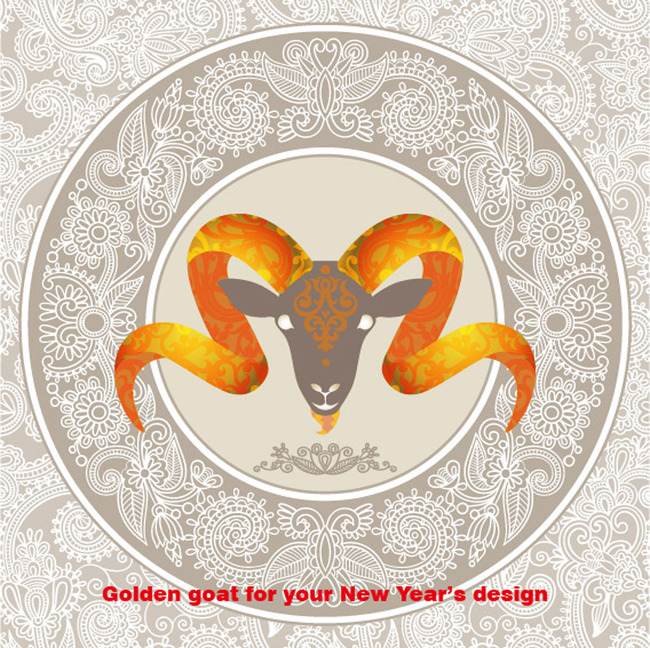 关键词: 欧式花纹 花纹底纹 花纹图案 花纹素材 圣诞节素材 羊头创意