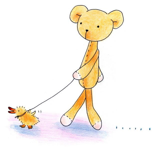 【jpg】牵着鸭子散步的小熊插画绘画
