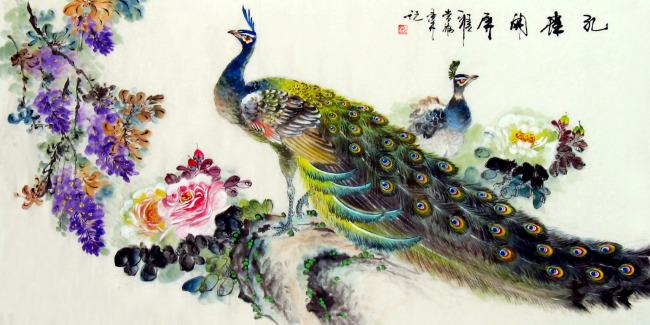 关键词: 国画水墨花鸟画 孔雀牡丹国画 手绘国画-孔雀 写意花鸟画 孔