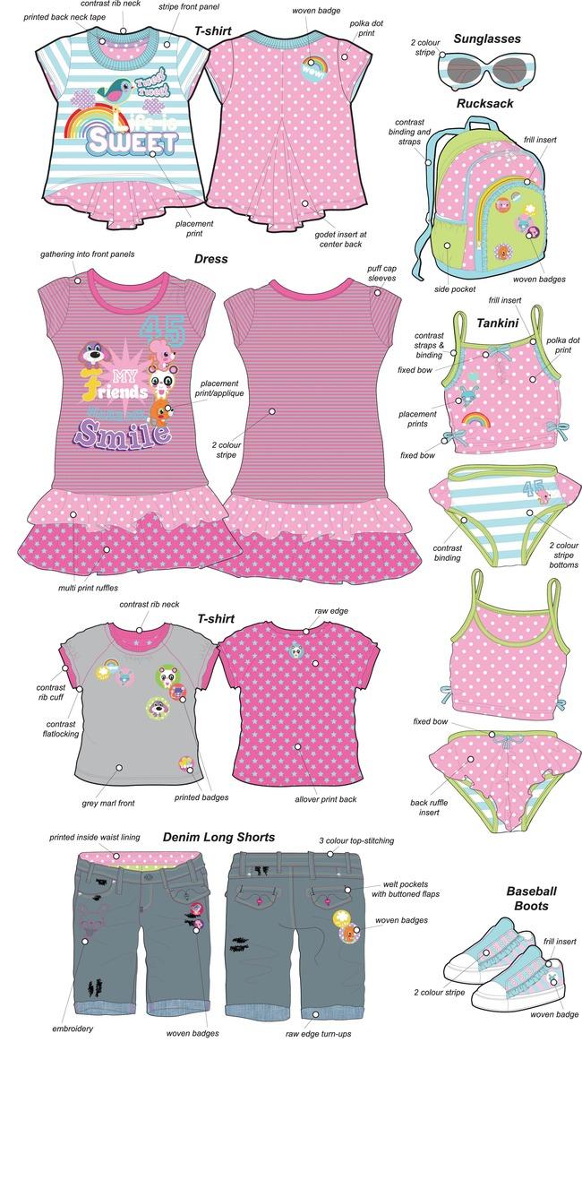 电脑绘制服装款式图 服装款式搭配 手绘ai格式服装款式各类流行童装