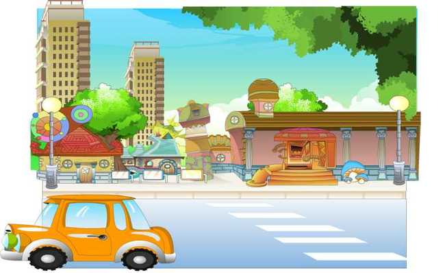 flash动画街道汽车场景图片