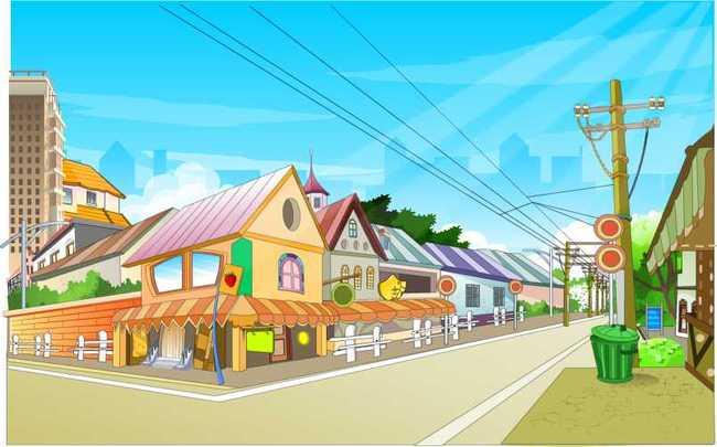 动画素材 街景 景观 图片下载 模板下载 卡通场景 小屋 店铺 室外