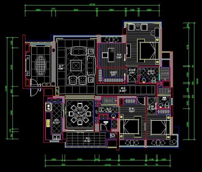 三室两厅两卫室平面图纸模板下载