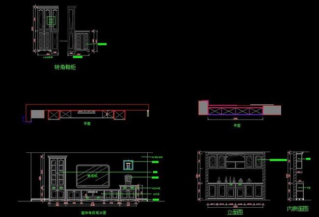 组合欧式电视柜CAD图纸模板下载