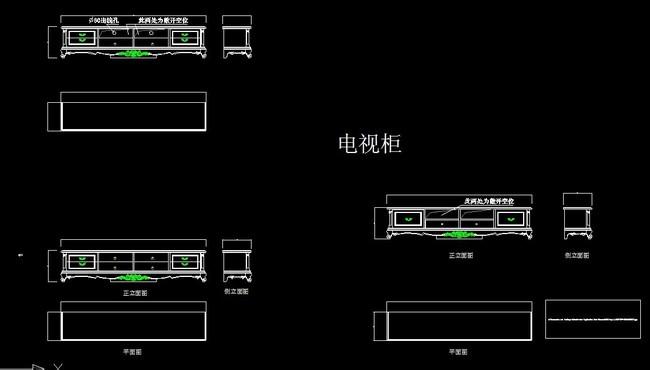 欧式电视柜CAD图纸模板下载