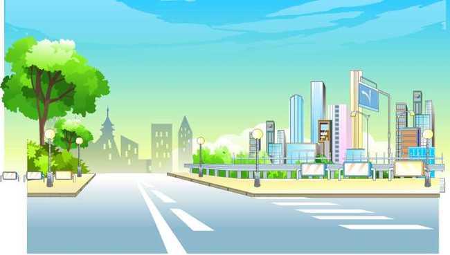 街景 景观 图片下载 模板下载 斑马线 树 天空 蓝天 室外 说明:flash