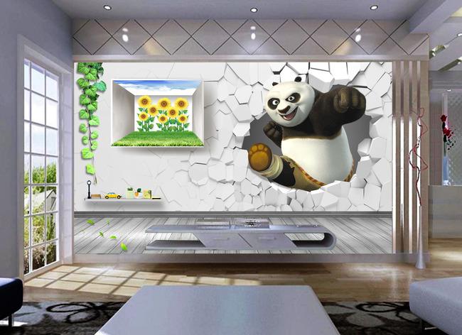 【psd】3d立体创意功夫熊猫背景墙装饰画