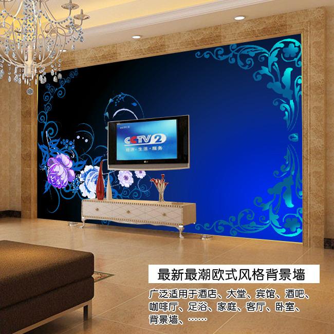 【psd】蓝色高贵典雅欧式电视背景墙