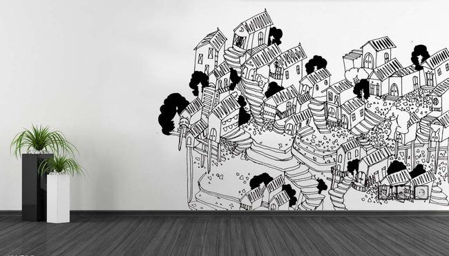 手绘背景墙 手绘图案 背景墙 手绘风景背景墙 手绘插画设计 创意楼房