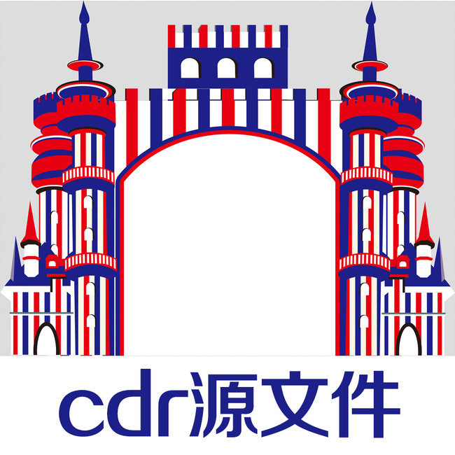 城堡婚礼 英伦婚礼 城堡拱门 舞台拱门 红蓝撞色 婚礼矢量源文件 婚礼