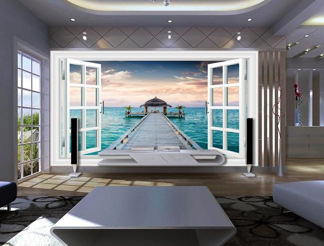 背景墙 > 3d窗户窗子风景大海木桥电视背景墙  关键词: 3d立体创意