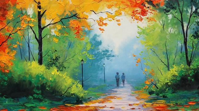 关键词: 无框画素材 油画壁纸背景 乡间小路油画 枫叶 森林小路 情侣