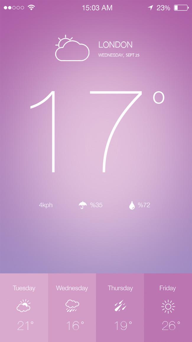 iOS7天气应用程序设计PSD素材下载
