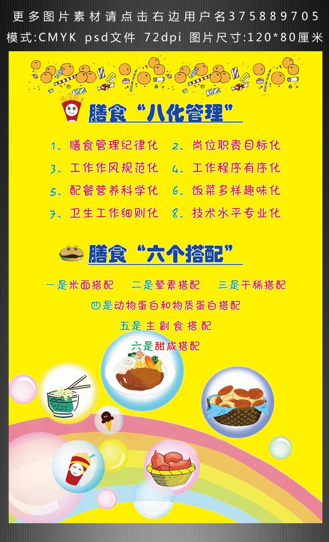 > 幼儿园食堂膳食搭配  关键词: 食堂膳食搭配幼儿园学校展板设计