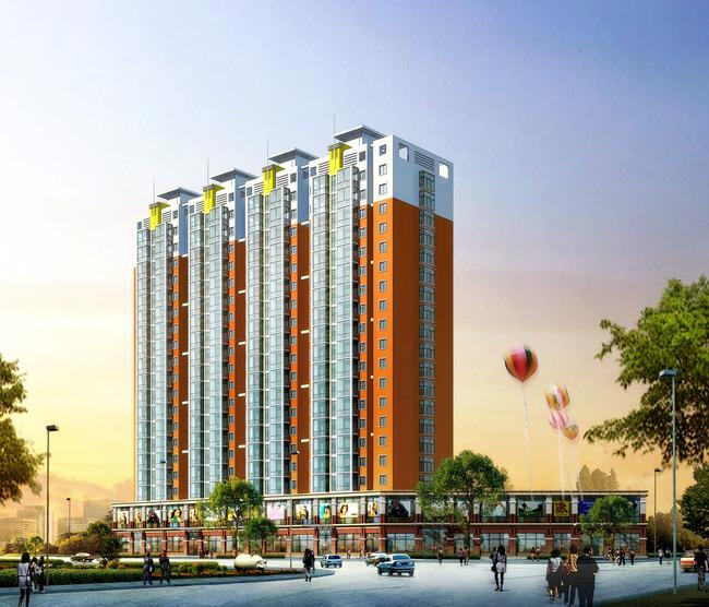 表现效果图设计3d素材建筑设计下载室外景 说明:3d模型高层住宅底商