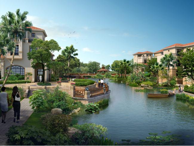 别墅别墅景区公园园林绿化景观设计效果图手绘:小区水系花园餐厅水系说明图片
