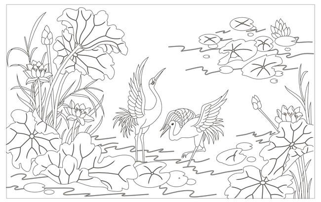 雕刻图案 > 矢量图案仙鹤  关键词: 矢量图 线条图 白描 线描图 文泰