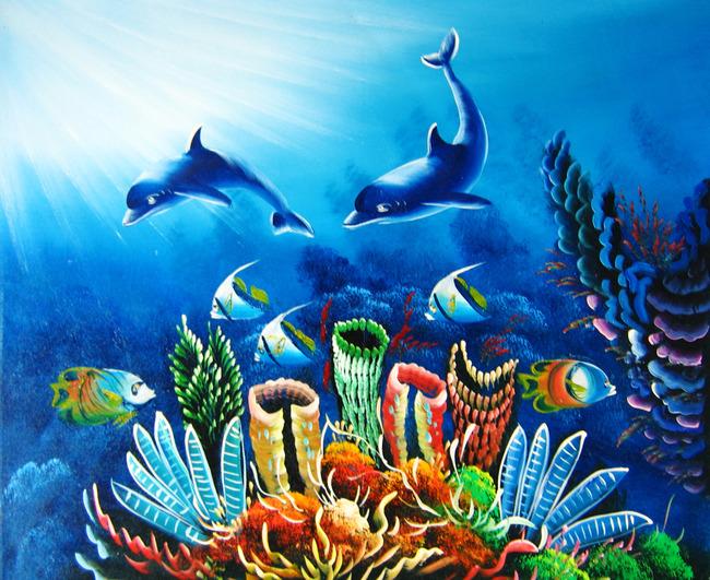 海底 蓝色 抽象画 装饰画 无框画 油画 丙烯画 水移画 小草 插画 风景